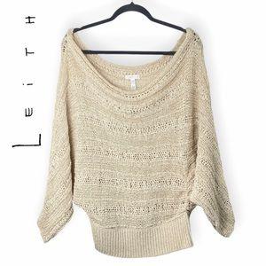 Leith Cream Off Shoulder Dolman Sleeve Loose Knit Top